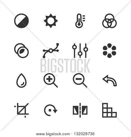 Image editing vector icons. Contrast, brightness, hue, color, filter, curve, levels symbols. Camera and editing icon, photography editing sign, technology editing interface illustration