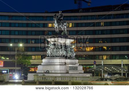 Night photo of Monument to the Tsar Liberator, Sofia, Bulgaria