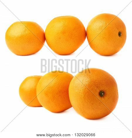 Three ripe fresh juicy grapefruits composition isolated over the white background
