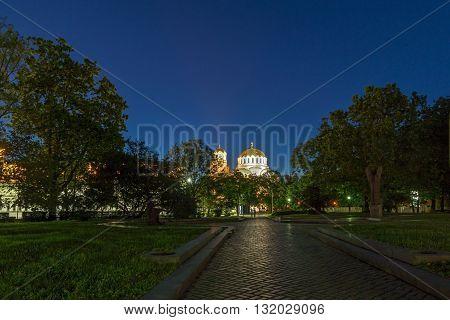 Night photo of Alexander Nevsky Cathedral, Sofia, Bulgaria