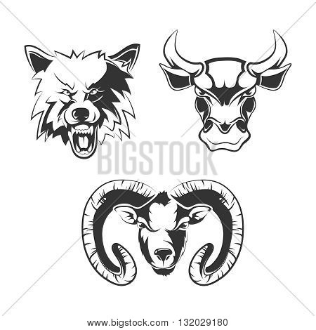 Vector elements for sport team labels with wolf, bulls and ram. Animal wild, head wolf, animal bull, animal ram, icon tattoo animal illustration