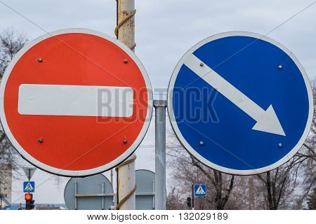 Traffic signs on the street close up