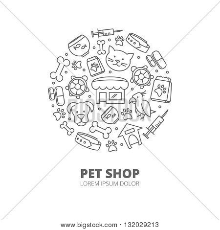 Pet shop vector logo with linear icons of  cats, dogs, goods for animals. Abstract veterinary concept. Animal pet, shop pet and veterinary pet illustration