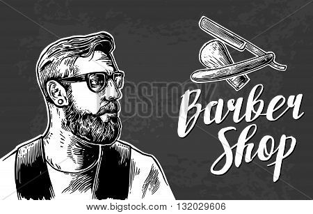 Hipster shave haircut in the BarberShop. Vector black and white illustrations and typography elements. Hand drawn vintage engraving for poster label banner web