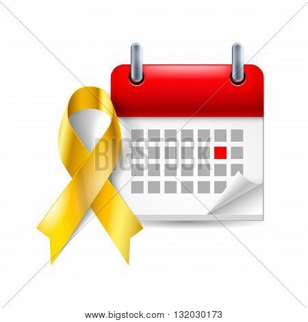 Gold awareness ribbon and calendar with marked day. Childhood cancer symbol