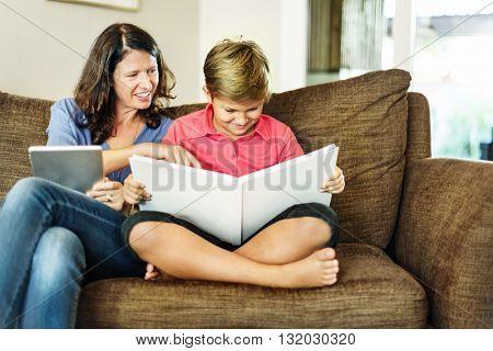 Mother Son Bonding Lesson Teacher Student Concept
