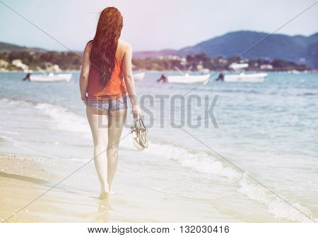 Woman Walking On Sandy Beach Laganas Zakynthos Greece