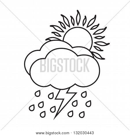 Line icon sunny and rainy day with storm. Weather icon isolated on white background.