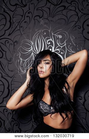 woman in bikini perfect shape body part on dark design background close up, lifestyle people concept