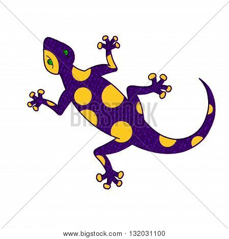 Purple yellow lizard with mosaic texture. vector illustration