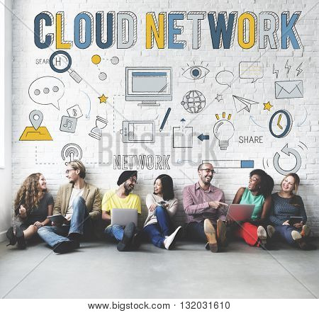 Cloud Network Connection Data Information Storage Concept