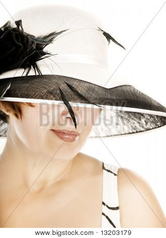 Beautiful middle-aged woman in stylish classic hat