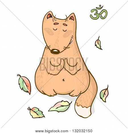 Vector funny animal yoga cartoon design. Cute fox sitting in the leaves meditating and doing yoga. Animal character design for apparel, cartoon, clothing, posters and stickers
