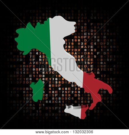 Italy map flag on hex code 3d illustration