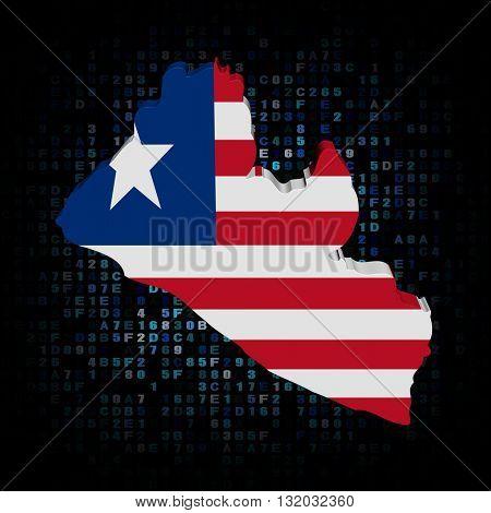 Liberia map flag on hex code 3d illustration