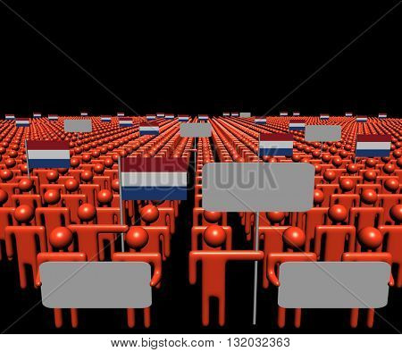 Crowd of people with signs and Dutch flags 3d illustration
