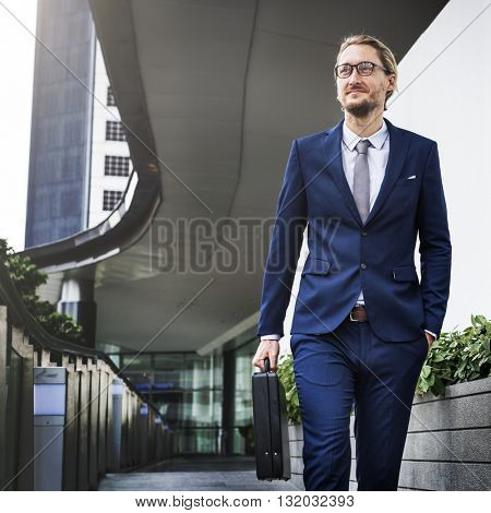 Business Man Cheerful Walking Concept