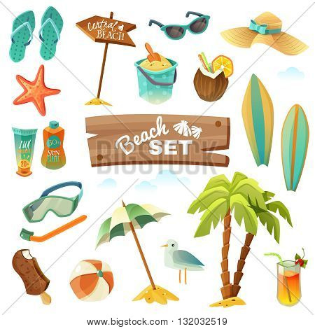 A set of sixteen icons of the beach on white background. Vector illustration