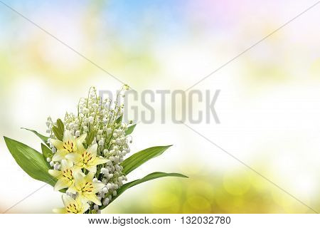 Beautiful flowers lily and lily of the valley