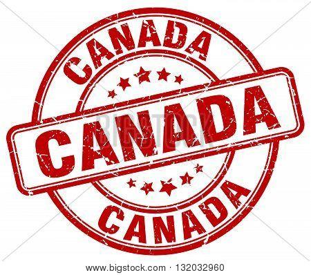 Canada red grunge round vintage rubber stamp.Canada stamp.Canada round stamp.Canada grunge stamp.Canada.Canada vintage stamp.