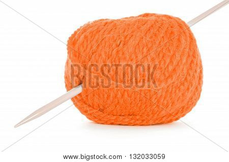 Roll of yarn, orange texture, isolated on white background