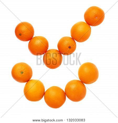 Yes tick mark made of multiple fresh oranges isolated over the white background, set of different compositions