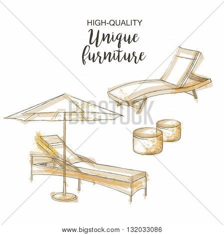 chair lounge umbrella sketch furniture isolated beach