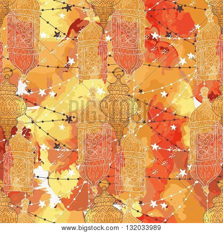 Eid Mubarak background. Eid Mubarak - traditional Muslim greeting. Festive hanging watercolor arabic lamps. Greeting card or invitation seamless pattern. Vector illustration.