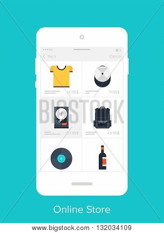 Abstract vector illustration of flat online store mobile UI