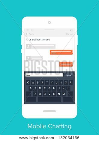 Abstract vector illustration of flat chatting mobile UI