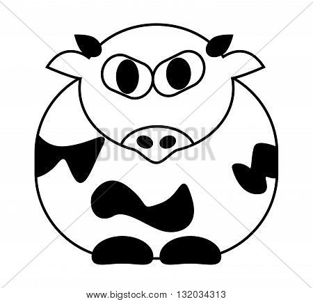 Cartoon Cow Vector Symbol Icon Design. Cute Animal Illustration Isolated On White Background