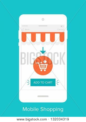 Abstract vector illustration of flat mobile shopping UI
