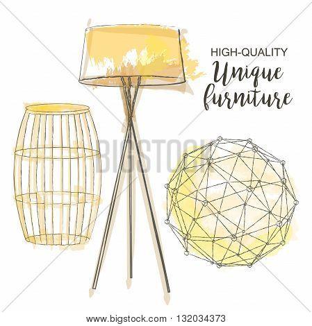 furniture set sketch decor polygonal sphere table lamp