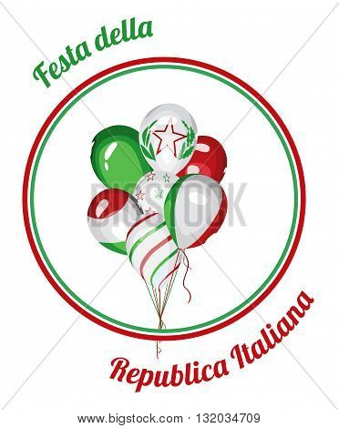 Italy National Day. Italy Republic Day. Bunch of balloons with Italian flag colors. Italy national celebration vector design.