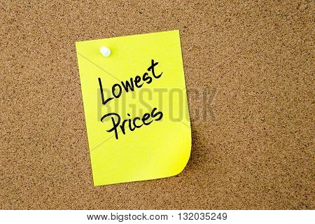 Lowest Prices Written On Yellow Paper Note