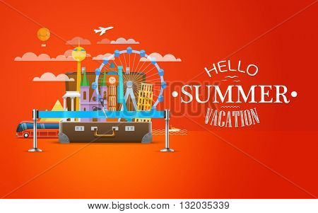 Travel bag vector illustration. Vacation design template. Open summer season concept