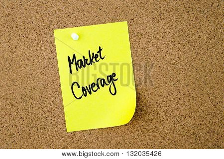 Market Coverage Written On Yellow Paper Note