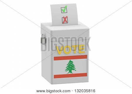 ballot box with flag of Lebanon 3D rendering isolated on white background