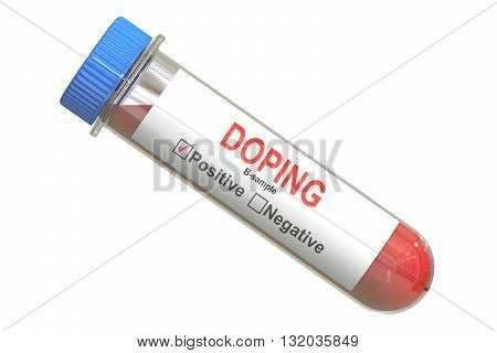 Doping concept test tube with sample B blood 3D rendering