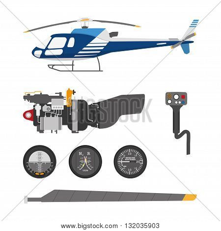 Repair and maintenance of the helicopter. Set of parts of helicopter on a white background. Vector illustration