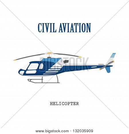 Figure civilian helicopter in flat style. Vector illustration