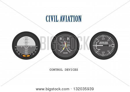 Set of aircraft instruments. Control of devices collection. Vector illustration