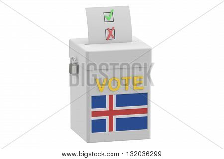 voting concept. Ballot box with flag of Iceland on ballot box 3D rendering
