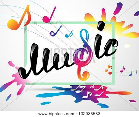 Colorful music logo in frame, vector illustration for Your design, eps10