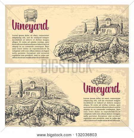 Rural landscape with villa vineyard fields and hills. Vector engraving drawn vintage illustration. Old paper beige texture background. For label poster horizontal banner.