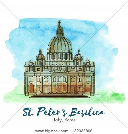 St. Peters Basilica. Landmark. Landmark Europe. Landmark capital. Landmark vector. Landmark eps. Landmark watercolor. Landmark icon. Landmark ui. Landmark art. Landmark print. Landmark picture. Landmark illustration.