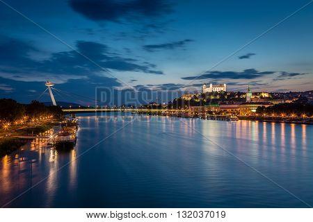 Evening View Of Bratislava, Slovakia.