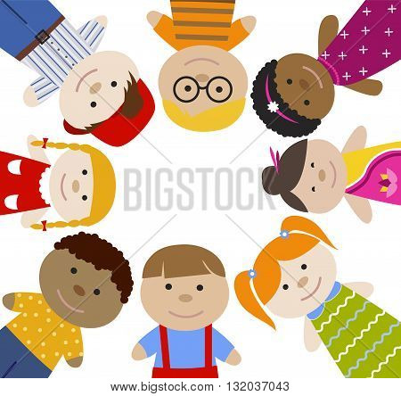 Square frame with children. Multiracial girls and boys. Cartoon flat vector illustration. Happy funny kids background.