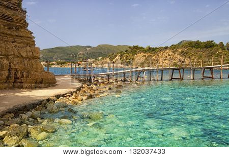 Hanging Wooden Bridge Over The Sea Cameo Island Zakynthos Greece
