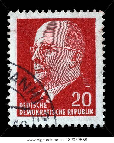 ZAGREB, CROATIA - SEPTEMBER 05: stamp printed in German Democratic Republic shows Chairman Walter Ulbricht, communist politician, circa 1961, on September 05, 2014, Zagreb, Croatia